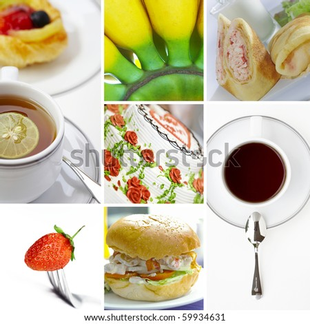 Food and drink  theme photo collage composed of few images - stock photo