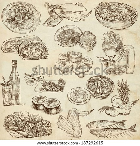 Food and Drinks around the World (set no. 5) - Collection of an hand drawn illustrations. Description: Full sized hand drawn illustrations drawing on old paper. - stock photo