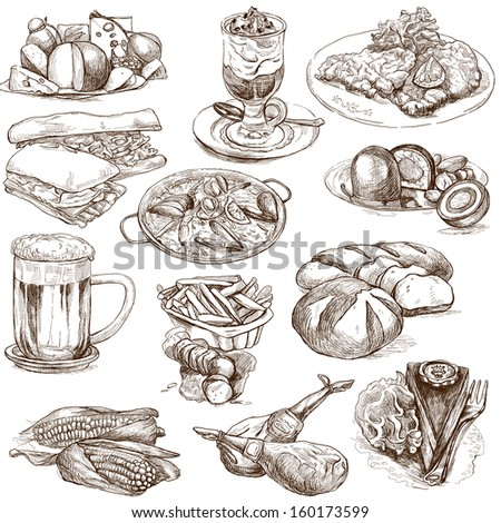 Food and Drinks around the World (set no.2, white set) - Collection of an hand drawn illustrations. Description: Full sized hand drawn illustrations drawing on white background.
