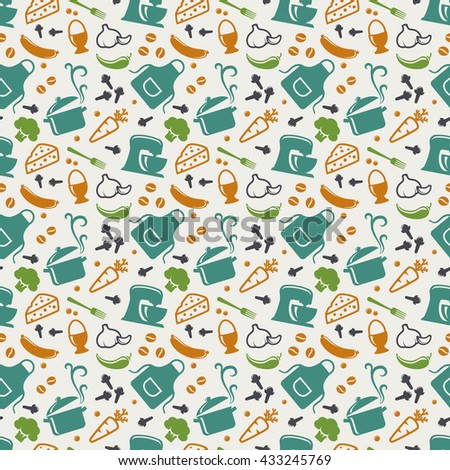 Food and kitchen seamless pattern in blue, orange, green and white colors. Retro background with cute icons for culinary theme. Raster illustration. - stock photo