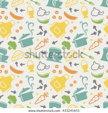 Food and kitchen seamless pattern in blue, yellow, orange, green, purple and grey pastel colors. Retro background with cute icons for culinary theme. Raster illustration. - stock photo