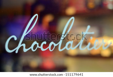 Food And Retail Image Of A Chocolatier's Window With Shallow Depth Of Field - stock photo