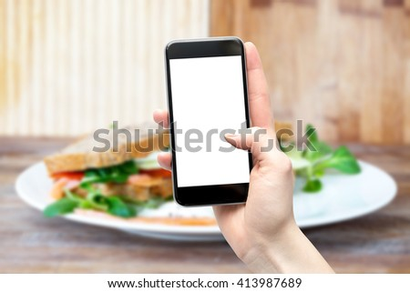 Food and smartphone in hand with a blank screen - stock photo