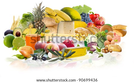 food and varied diet - stock photo