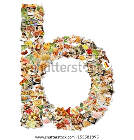 Food Art B Lowercase Shape Collage Abstract - stock photo