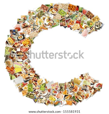 Food Art C Lowercase Shape Collage Abstract - stock photo