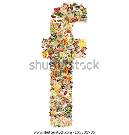 Food Art F Lowercase Shape Collage Abstract - stock photo