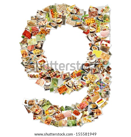 Food Art G Lowercase Shape Collage Abstract - stock photo