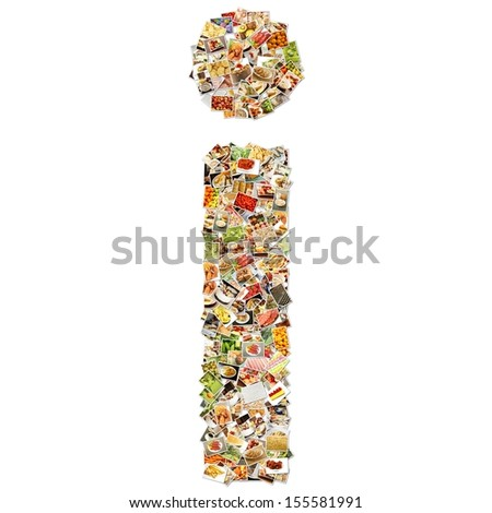 Food Art I Lowercase Shape Collage Abstract - stock photo