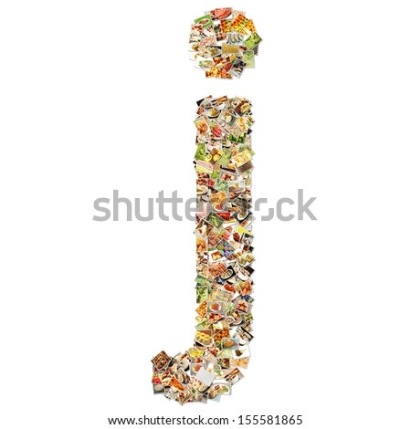Food Art J Lowercase Shape Collage Abstract - stock photo