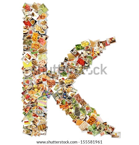 Food Art K Lowercase Shape Collage Abstract - stock photo
