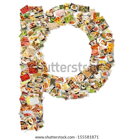 Food Art P Lowercase Shape Collage Abstract - stock photo