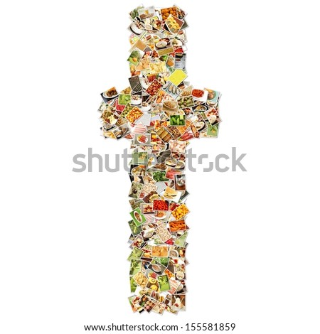 Food Art T Lowercase Shape Collage Abstract - stock photo