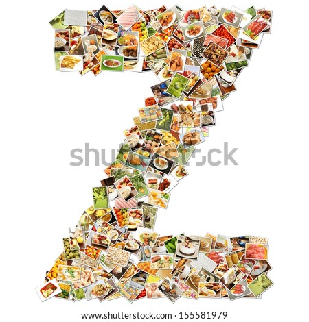 Food Art Z Lowercase Shape Collage Abstract - stock photo