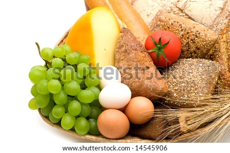 food assortment on white background - stock photo
