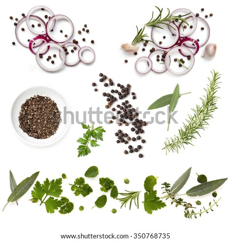 Food background collection with onions, herbs, and peppercorns, all isolated on white.  Overhead view. - stock photo