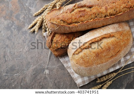 food background with breads, top view - stock photo