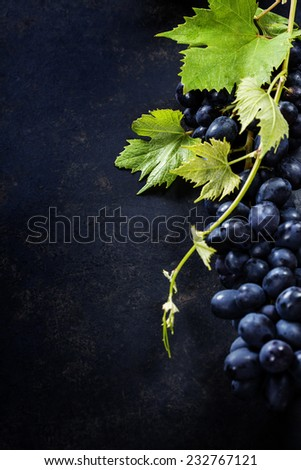 Food background with Fresh Grapes.  Lots of copy space.  - stock photo
