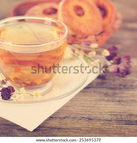 Food background with herbal bio tea - stock photo