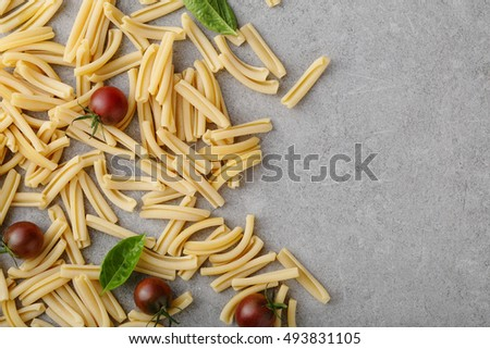 food background with pasta, above