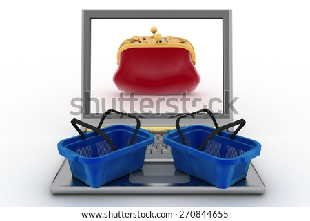 Food baskets and laptop with a purse for money. Concept of purchases of commodities in the Internet in the whole world. 3d illustration - stock photo
