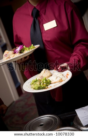 food being served by a waiter during a wedding or catered social event - NOTE: this image has very slight movement in the hands from the action of the dinner being brought to the table. - stock photo