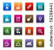 Food & Beverages Sticker Icons isolated over white background - sticker series - stock photo