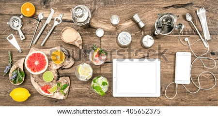Food blogger desk with bar tools, accessories and electronic devices. Flat lay background - stock photo