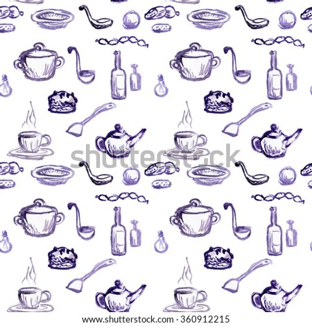 food bottles, containers, food and utensils, seamless texture, pattern watercolors, spoon, cup, tea, cake, sausage, cake - stock photo