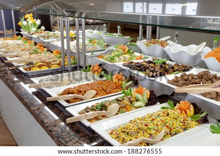 food buffet in restaurant - stock photo
