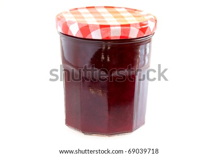 Food - Canned food - Jar with cherry jam isolated on white background. - stock photo