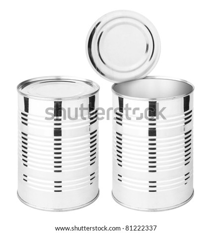 Food cans isolated on white (with clipping patch) - stock photo