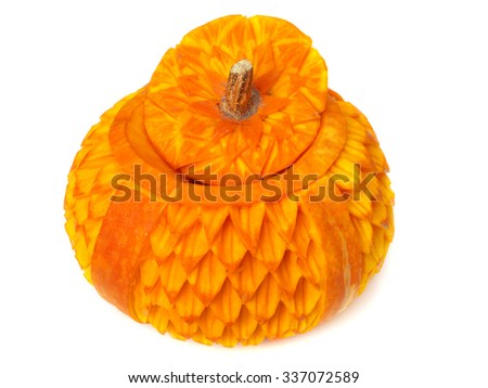 Food carving of pumpkin isolated on white background