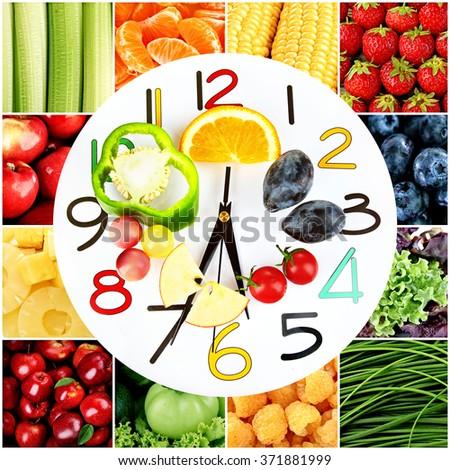 Food clock. Healthy food concept - stock photo