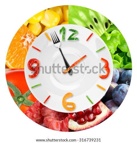 Food clock with vegetables and fruits. Healthy food concept