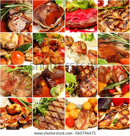 Food Collage. Gourmet Restaurant Meat Set. Menu Background - stock photo