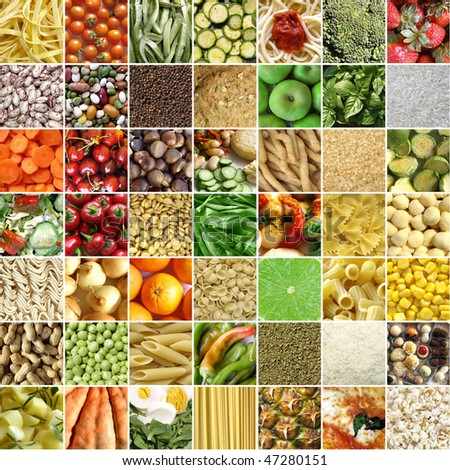 Food collage including pictures of vegetables, fruit, pasta - stock photo