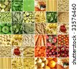 Food collage including pictures of vegetables, fruit, pasta and more - stock photo