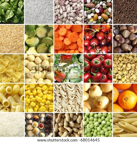 Food collage including 49 pictures of vegetables, fruit, pasta and more - stock photo