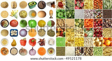 Food collage including pictures of vegetables, fruit, pasta isolated and as a background - stock photo