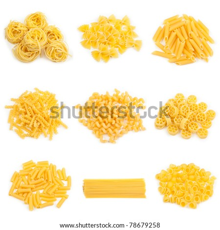 food collage of different kinds of italian pasta - stock photo
