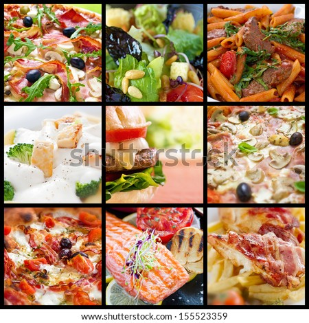 Food collage of pizzas, pastas, salads, fried food and barbecue meals.  - stock photo