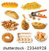 Food collection isolated on a white background - stock photo