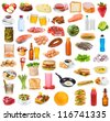 Food collection  on white background - stock photo