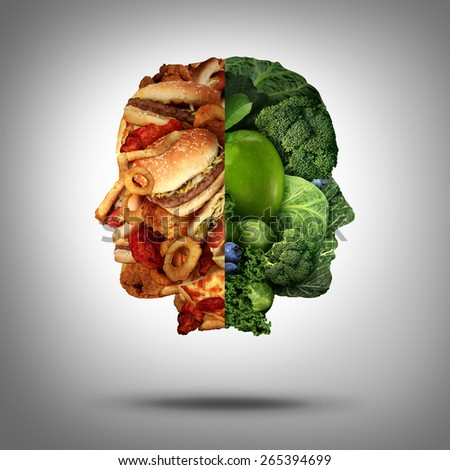 Food concept and diet decision symbol or nutrition choice dilemma between healthy good fresh fruit and vegetables or fast food as a human head with two conflicting sides trying to decide what to eat. - stock photo