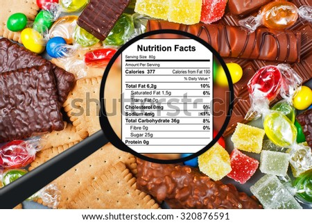 Food concept - candy, chocolate, candy bars, jelly - stock photo