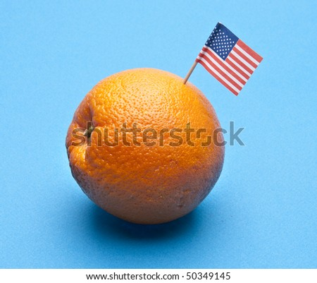 Food concept of fruit with American flag in fruit. - stock photo