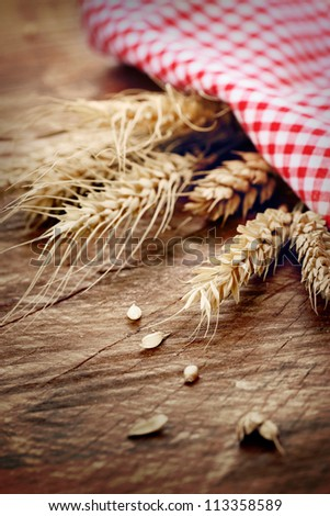 Food concept with wheat on wooden background - stock photo