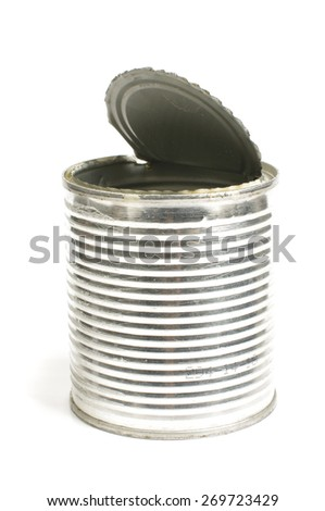 Food consumption idea empty tin can isolated - stock photo