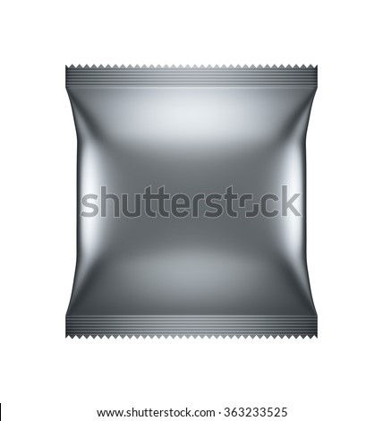 Food Cookie Blank silver Packaging design, illustration Virtual 3D isolated - stock photo